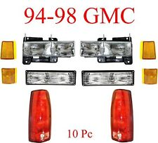 94 98 GMC 10Pc Head & Tail Light Kit, Includes Parking & Side Lights, Truck, SUV