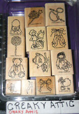 STAMPIN UP BUTTONS BOWS AND TWINKLETOES 13 RUBBER STAMPS RETIRED DOLL ACC KIDS