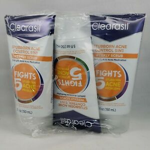 Clearasil Stubborn Acne Control 5 in 1 Weekly Scrub 5 oz 3 PACK