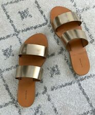 80dea15cff2 Fastening  Slip On.   Other Stories Two Strap Leather Slip-On Gold Slide  Sandals - Size 39 (