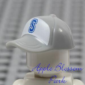 """NEW Lego Minifig GRAY BASEBALL CAP - Boy Girl Sports Hat Head Gear w/Blue """"S"""""""