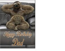 PERSONALISED SLOTH BIRTHDAY CARD A5 ANY NAME AGE GREETINGS OCCASION
