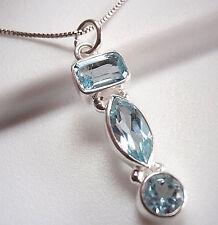Blue Topaz Triple-Gem 925 Sterling Silver Necklace Corona Sun Jewelry