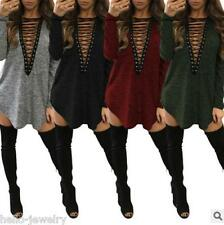 Damen Kleid Mini Kleid Abendkleid Party Longshirt V-Ausschnitt Lace Up S-3XL