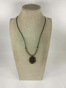 Marjorie Baer San Francisco Beaded Wavy Brown Lucite Leather Necklace