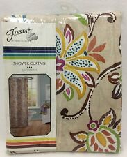 "Fiesta Jacobean Fabric Shower Curtain 70"" x 72"" New! Beautiful Colors! Rtl $45"