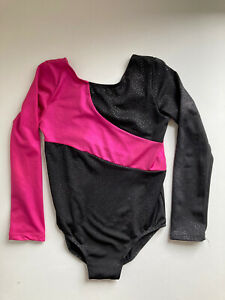 girls leotard Long Sleeved Age 8-9 Black And Pink Sparkly