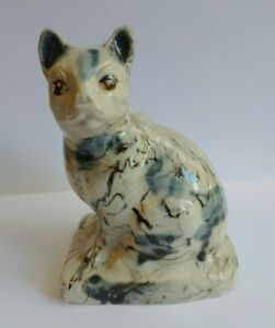 ANTIQUE STAFFORDSHIRE MARBLED GLAZE CAT STATUE FIGURINE