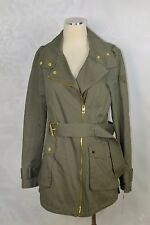 Guess   size M   Belted Asymmetrical Anorak  Olive Cotton  jacket     NWT