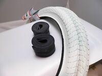 (PAIR of) White KENDA Kontact 20 x 1.95 Bike Tyres & Tubes Semi Slick / Tarmac