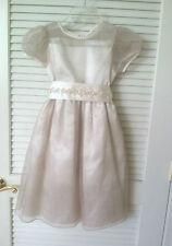 Girls Rare Editions Short Sleeve Ivory w/Sparkle Belt & Gold Overlay Dress Sz 6X