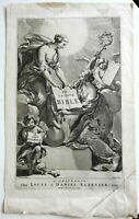 Biblical Frontispiece Holy Bible Gospels 10 Commandments Cherubs 1669 engraving