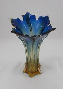 Rare Stylish Big Cz Vase by Miroslav Klinger Murano Sommerso Technik Blue-Yellow