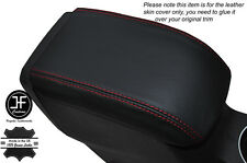RED STITCHING LEATHER SKIN ARMREST LID COVER FITS FORD FIESTA MK9 2013-2016