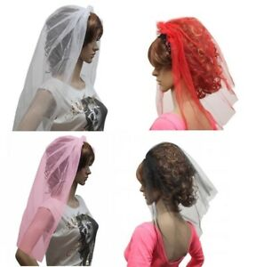 LADIES GIRLS  VEIL ON HAIR BAND HEN'S HEAD DRESS FOR FANCY DRESS AND HEN NIGHTS.