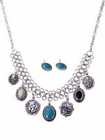 Western Silver Metal Charm Turquoise Blues Black Stone Fashion Necklace Set