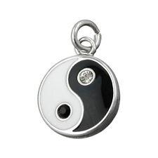 Anhänger Zeichen Yin-Yang 925 Silber schwarz-weiß Kettenanhänger, Silberanhänger