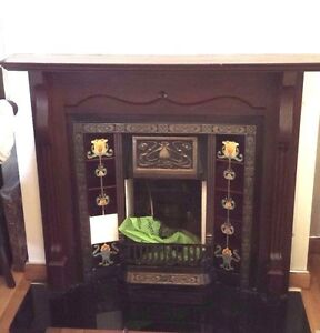 Brand new Focal point inset+used gas fire surround+black Marble hearth/Cast Iron
