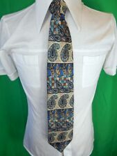 Vintage Blue & Brown Paisley Patterned Pierre Cardin Paris Silk Neck Tie Groovy