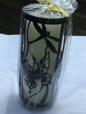 Elegant Butterfly Dragonfly Black Pillar Candle Holder With Unscented 3x7 Candle