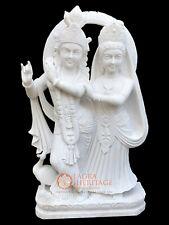 "42"" White Marble Radha Krishna Sculpture Handmade Love Gift Bedroom Decor E1160"