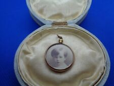 ANTIQUE VICTORIAN ROLLED GOLD PHOTO LOCKET PENDANT FOB WITH EMBROIDERY