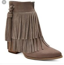 Candie's Micro Suede Taupe Fringe BOOTS Size 7.5 2778 | eBay