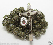 † VINTAGE ENAMELED SACRED HEART FULLY FILIGREE CAPPED CAGED CLEAR GLASS ROSARY †