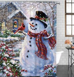 Christmas Snowman Waterproof Fabric Bathroom Shower Curtain with 12 Hanging Hook