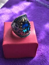 Gems Size O New In Gift Box Beautiful Silver Metal Fashion Ring With Turquiose