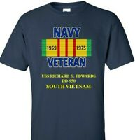 USS RICHARD S.EDWARDS DD-950 NAVY VIETNAM CAMPAIGN RIBBON & VINYL SHIRT/SWEAT