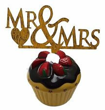 "3 pcs Mr & Mrs signs gold  sparkle acrylic 5"" x 3"" cake top pick"