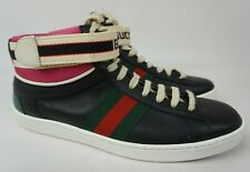 Gucci Ace Black Leather Strap Lace Up High Top Trainer Women's Sneaker Size 37