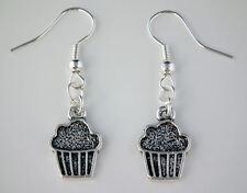 Tibetan Silver Muffin Cake Drop Dangle Hook Earrings + Gift Bag