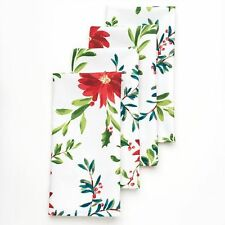 "HOLIDAY Napkins Holly Pine 20"" Holiday FOOD NETWORK Pointsettia Set/4 NWT"