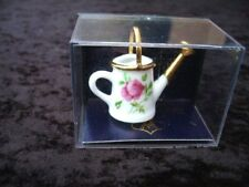Porcelain Watering Can with Metal Rose Miniature Dollhouse D17 Floral Reutter