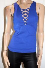 VALLEYGIRL Brand Blue Ribbed Cross Plunge Sleeveless Tank Top Size S BNWT #TC27