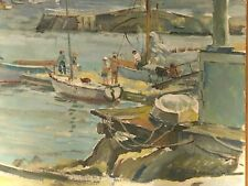 "Vintage Oil On Board Seascape Harbor Italy Boat 16""  X 20"" Signed Catinaro 86"