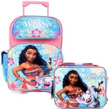 "Disney Moana 16"" inches Rolling Large Backpack & Lunch Box - Licensed for Girls"