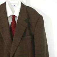 brown JHANE BARNES jacket blazer sport coat windowpane plaid 2 button 42 42L