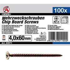 100x Spanplatten Schrauben Senkkopf verzinkt Kreuzschlitz PZ 2 4.0 x 60 mm