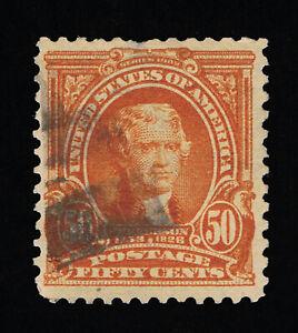 VERY AFFORDABLE GENUINE SCOTT #310 F-VF USED 50¢ ORANGE BEP ISSUE #11833