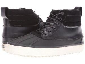 $194 Vans Mens Black White High Hi Tops Canvas Skateboarding Sneakers Shoes 7