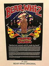BEAR WHIZ BEER ~ VINTAGE ~ New Old Stock ~ Poster Advertising Sign P1