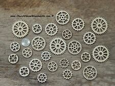 25 Wood Gear Cogs for Steampunk Crafts Wooden Watch Gears Wheels Embellishments