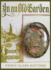 Victorian Girl Smelling Lilies Glass Dome OVAL BUTTON Vintage FLOWER GARDEN Art