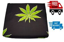 Marijuana Leaf Weed Pot Cannibis Leaf sheet Queen Size Pillowcase Sets Black