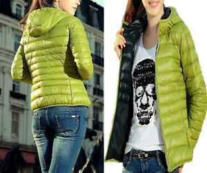 Ultra Light Down Hooded Jacket Quilted Padded Coat Bubble Warm Puffer Women