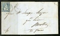 SWITZERLAND 10 RAPPEN ON  COVER RECEIVED IN ZURICH 6/9/1863