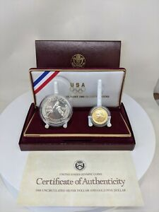 1988 US Mint Olympic Commemorative 2 Coin Silver & Gold Uncirculated Set W/ OGP